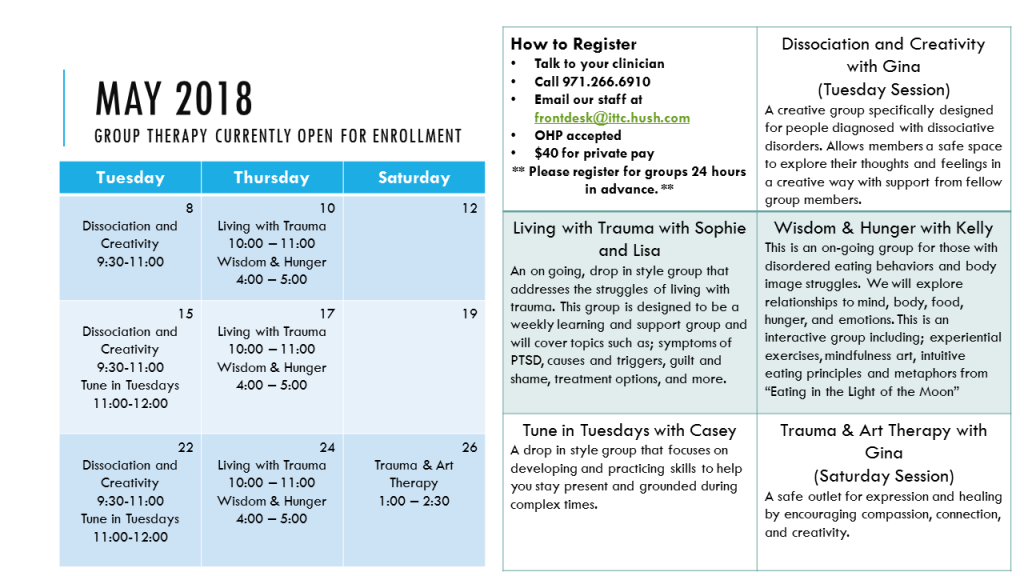 Group Calendar for May 2018